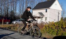 Kaci Hickox rides away from in Fort Kent, Maine. Photograph: Robert F. Bukaty/AP