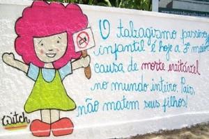 Grafite alerta para os efeitos do tabagismo nas crianças. Foto: Flickr/ Glaucia Carvalho (Creative Commons)