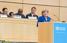 Angela Merkel, Chancellor of Germany at the Sixty-eight World Health Assembly, Palais des Nations, Geneva. Photo by Violaine Martin